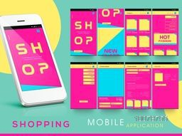 Creative Mobile User Interface Screens with smartphone presentation for Online Shopping Stores.