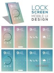 Different creative Lock Screen User Interface layout for Smartphone.