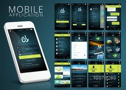 Creative different Mobile Application Screens layout with Smartphone presentation.