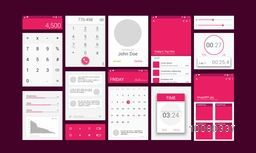 Material Design UI, UX, GUI Screens with flat web icons for mobile apps, responsive websites with Calculator, Calling, Preview Message, Calendar, Music, Time, Stopwatch and Image Gallery Features.