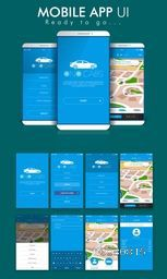 Online Cab Mobile App Material Design UI, UX and GUI Screens including Sign Up, Start, Pick Up Location, Login Form,  Destination, Map Navigation and Last Ride features for e-commerce business concept.