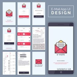 E-Mail Mobile Apps Material Design, UI, UX and GUI template layout with Log In, Reset Password, Sign Up, Inbox, Send Mail and Sent Confirmation Screens for responsive website and e-commerce.