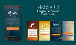 Mobile Sign In and Login Screens, Material Design, UI, UX and GUI template layout in four different creative design and color options for Responsive Website, Webpage, Designing and Mobile Apps.