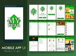 Games and Sports Mobile Apps UI, UX, GUI template layout for e-commerce and responsive website  including Login, My Team Gallery, Sport Details, Profile and Events Screens.