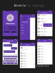 Material Design UI, UX, GUI Screens with flat web icons for mobile apps, responsive websites with Login Screen, Add Friends Screen, Message Preview Screen, Group Screen and Contact List Screen.