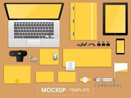Blank corporate identity or mockup template in yellow and white color including Digital Devices, File Folder, Envelope, Visiting Cards etc.