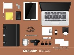Professional blank corporate identity kit for business including modern digital Devices, File Folder, Visiting Cards, Stationery items etc.