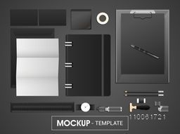 Stylish black and white corporate identity kit including Letterhead, File Folder, Visiting Cards, Envelopes, Clipboard and Stationery etc.