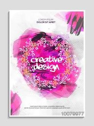 Creative Flyer, Banner or Pamphlet with pink paint stroke for your Business.