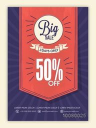Stylish Big Sale Flyer, Banner or Pamphlet with 50% discount offer for 3 days, limited time only.