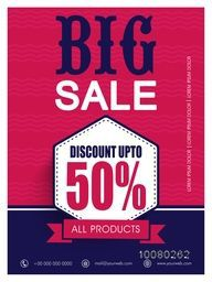 Big Sale Flyer, Banner or Pamphlet with 50% discount offer on all products.