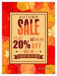 Autumn Sale Flyer, Banner or Pamphlet with flat 20% discount offer only on fashion collections.
