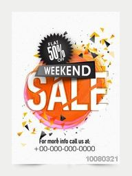 Weekend Sale Flyer, Sale Banner, Sale Pamphlet, Flat 50% Off with abstract design.