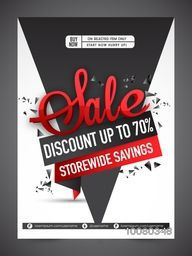 Stylish Sale Flyer, Banner or Pamphlet design with 70% discount offer on selected items only.