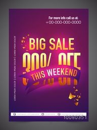 Big Sale Flyer, Banner or Pamphlet with 30% discount offer for this Weekend only.