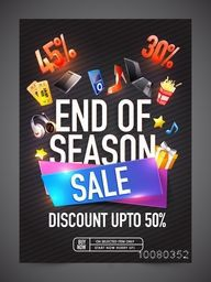 End of Season Sale Flyer, Banner or Pamphlet with different discount offer and best price.
