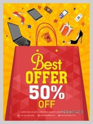 Stylish Sale Flyer, Banner or Pamphlet with best 50% discount offer.
