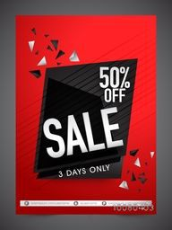 Creative Sale Flyer, Banner or Pamphlet with 50% discount offer for 3 days only.