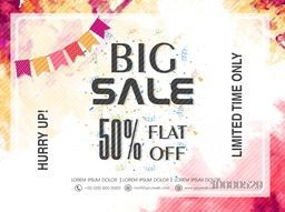 Big Sale with flat 50% discount offer for Limited Time Period, Creative colorful Poster, Banner or Flyer design.