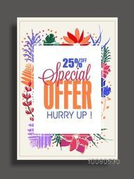Special Offer Sale Flyer, Sale Banner, Sale Poster, 25% Off with colorful flowers, Vector Illustration.