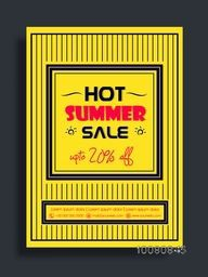 Hot Summer Sale Flyer, Sale Banner, Sale Poster, Upto 20% Discount, Vector illustration.
