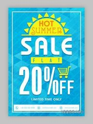 Hot Summer Sale, Summer Sale Poster, Sale Banner, Sale Flyer, Flat 20% Off, Limited Time Sale, Creative Sale Background.