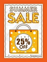 Summer Sale Poster, Sale Banner, Sale Flyer, Flat 25% Off, Creative Sale Background with illustration of shopping bag.