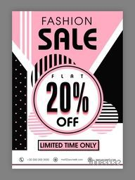 Fashion Sale with Flat 20% Off, Fashion Sale Poster, Sale Banner, Sale Flyer, Flat 20% Discount offer for Limited Time, Creative Abstract Sale Background.