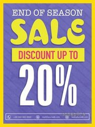 End of Season Sale Flyer, Sale Banner, Sale Pamphlet, Sale Poster, Discount upto 20% Off, Vector Illustration.