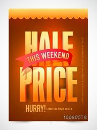 Elegant glowing Half Price for This Weekend, Sale Flyer, Sale Banner, Sale Pamphlet, Limited Time Discount Offer.