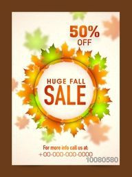 Elegant Huge Fall Sale Flyer, Sale Banner, Sale Template, 50% Off with glowing Maple Leaves.