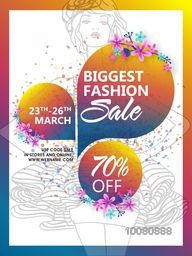 Biggest Fashion Sale Poster, Sale Banner, Sale Flyer, 70% Discount, Creative vector illustration.