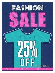 Fashion Sale Flyer, Sale Banner, Sale Poster, Flat 25% Discount Offer. Vector illustration.