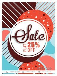 Sale Poster, Sale Banner, Sale Flyer, Flat 25% Off. Colorful Abstract vector illustration.