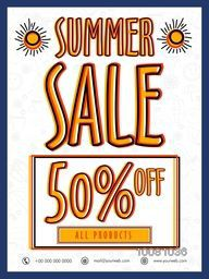 Summer Sale Flyer, Sale Banner, Sale Poster, Flat 50% Discount Offer on all product. Creative vector illustration.