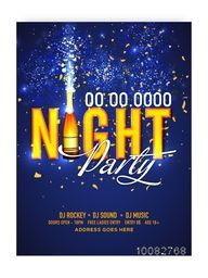 Night Party Template, Dance Party Flyer, Musical Party Banner or Club Invitation design, Creative background with golden text and beautiful blue fireworks explosion.