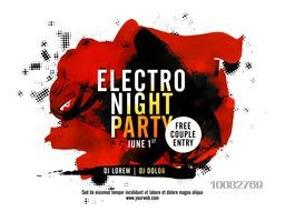 Electro Night Party Template, Dance Party Flyer, Musical Party Banner or Club Invitation design, Creative background with abstract brush strokes.