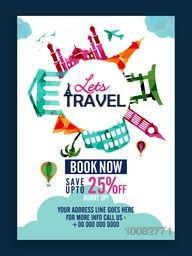 Creative Template, Banner or Flyer design with illustration of colorful famous monuments for Tour and Travel concept.