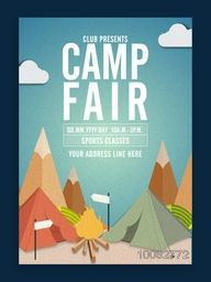 Camp Fair Template, Summer Camp Banner or Flyer design with illustration of tents on stylish background.