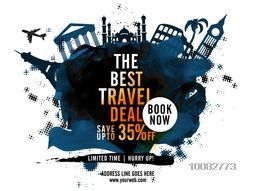 Best Travel Deal with 35% Off for Limited Time, Creative Poster, Banner or Flyer design with illustration of world famous monuments, Stylish abstract background.
