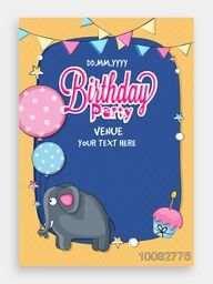 Birthday Party Invitation Card design with illustration of cute elephant, cupcake, balloons and buntings.