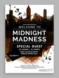 Midnight Party Template, Dance Party Flyer, Night Party Banner or Club Invitation design with abstract cityscape background.