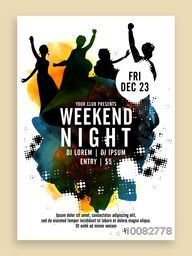 Weekend Night Party Template, Dance Party Flyer, Musical Party Banner or Club Invitation with silhouette of dancing people.