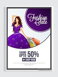 Fashion Sale Poster, Sale Banner, Sale Flyer, Save upto 50%, Sale Background with illustration of young modern girl, Creative vector illustration.