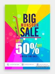 Big Monsoon Sale and Discount, Monsoon Sale Poster, Sale Banner, Sale Flyer, Upto 50% Off, Limited Time Only, Colorful Sale Background, Vector illustration.