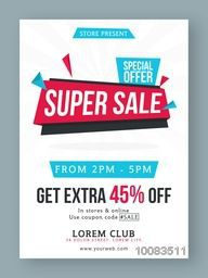 Super Sale Poster, Sale Banner, Sale Flyer, Sale Paper Tag, Special Offer Sale, Get Extra 45% Off, Creative vector illustration.