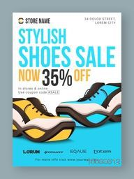 Stylish Shoes Sale with Discount, Sale Poster, Sale Banner, Sale Flyer, 35% Off, Online Sale, Creative vector illustration.