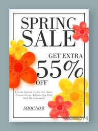 Spring Sale Poster, Sale Banner, Sale Flyer, Get Extra 55% Off, Creative Sale Background with beautiful flowers, Sale vector illustration.