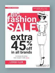 Big Fashion Sale with Extra Discount, Fashion Sale Poster, Sale Banner, Sale Flyer, 45% Off, Sale Background with illustration of young girl.