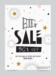 Big Sale Poster, Sale Banner, Sale Flyer, 50% Off, Creative Sale Typographical Background, Stylish vector illustration.